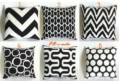 """Black Pillow Cover 18""""x18"""" Black and White Throw Pillow Cushion Cover on Etsy, $16.72 CAD"""