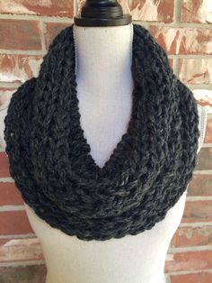 Infinity Scarf Circle Scarf Chunky Knit Cowl Charcoal Grey Black - Industrial Whimsy - Ready to Ship by IndustrialWhimsy on Etsy https://www.etsy.com/listing/243853197/infinity-scarf-circle-scarf-chunky-knit
