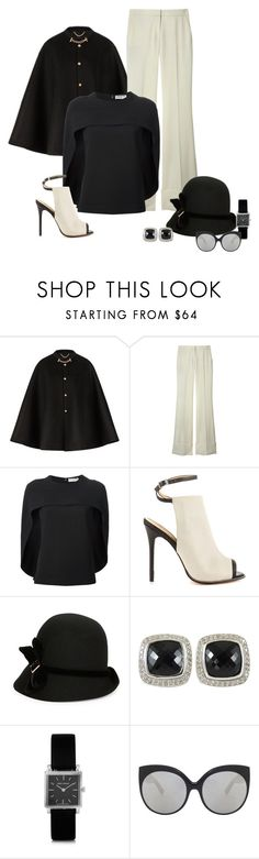 """Simple but Elegant"" by michelletheaflack ❤ liked on Polyvore featuring Burberry, STELLA McCARTNEY, Balenciaga, L.A.M.B., Giovannio, David Yurman, Isabel Marant, Linda Farrow Luxe and blackandwhite"