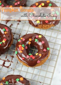 Baked Pumpkin Donuts with Chocolate Icing   ChezCateyLou.com