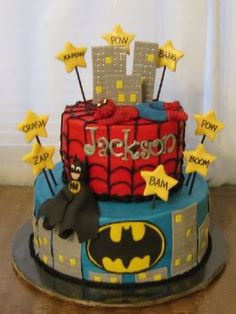 Batman and Spider man cake