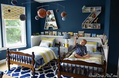Boys room inspiration from HomestoriesAtoZ.com.   3D initial boxes for personal treasured nicknacks/keepsakes