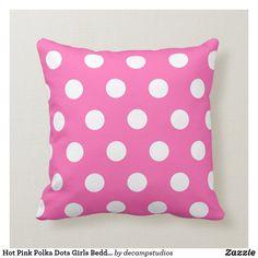 Hot Pink Polka Dots Girls Bedding Throw Pillow