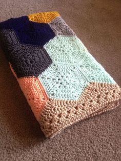 "BabyLove Brand Geometric Lace Blanket/Afghan, handmade crochet beautiful color/size baby throw - custom available - 36""x36"""