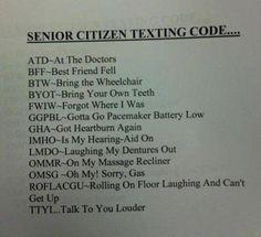 Senior Citizens Texting Codes