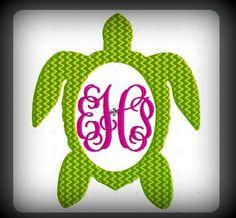 Sea Turtle Monogram Embroidery Design