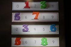 Le nombre manquant... à faire avec des pinces à linge, ou des bouchons, ou des chiffres magnétiques...