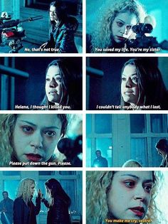 Orphan Black - Helena & Sarah - my favorite scene Movies Showing, Movies And Tv Shows, Series Movies, Tv Series, Helena Orphan Black, Sarah Manning, Black Tv Shows, Tatiana Maslany, Black Picture