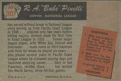 1955 Bowman #307 Babe Pinelli Back
