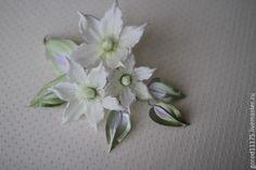 """Купить Брошь """" Белый клематис"""". - белый, белый клематис, брошь цветок"""