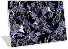 Elegant Blue & Grey Dark Floral Pattern   Design available for PC Laptop, MacBook Air, MacBook Pro, & MacBook Retina