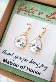 Luxe Cubic Zirconia Teardrop Gold Earrings, gifts for her, Bridal Earrings, Bridesmaid earrings, Champagne gold weddings, jewelry, www.glitzandlove.com