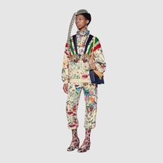 Technical jersey jacket with patches in Multicolor Flora print on ivory technical jersey Flora Print, Athletic Pants, Active Wear For Women, Fashion Prints, Designing Women, Street Wear, Clothes For Women, Womens Fashion, Fashion Styles