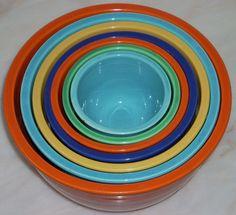 Fiesta ware mixing bowls