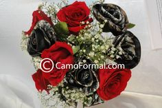 Red Roses, Mossy Oak Camouflage Roses & Baby's Breath Wedding Bouquet :) <3