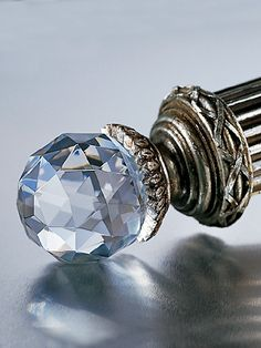 """Oooo, to match the chandelier!   """"1 3/4"""" Faceted Crystal Curtain Rod  (Available in Burnished Silver and Burnished Gold)"""""""