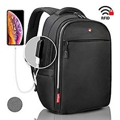 Buy Laptop Backpack Black RFID Blocking - Travel Backpack USB Quick Charge - Swiss Design Business College School Waterproof Backpack for Men Women, New Model Luggage Straps, Backpack Straps, College Book Bag, College School, Black Backpack, Travel Backpack, Waterproof Laptop Backpack, Anti Theft Backpack, Lightweight Backpack