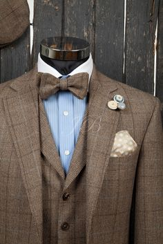 Bow Tie Wedding Suit Tweed