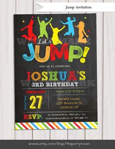 Jump invitation, Bounce house invitation, Trampoline birthday invitation,  Pump It Up Party, Sky High Invitation boy Printable DIY by ThePartyTown on Etsy https://www.etsy.com/listing/220078001/jump-invitation-bounce-house-invitation