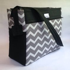 diaper bag / craft project bag -- grey and white chevron zig zag with black contrast