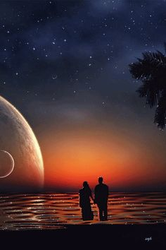 Love this picture of planets & a fantastic sunset. Gif Pictures, Pretty Pictures, Beautiful Moon, Beautiful Images, Romance, Ramses, Moon Images, Midnight Sky, Gif Photo