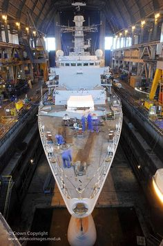 Royal Navy Type 23 frigate HMS Westminster is pictured in dry dock at HMNB Devonport.