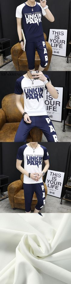 Men T-Shirts+Shorts Summer Casual Tracksuit Letter Printed T Shirt Young Male Fashion Two Pieces Set Sportswear Plus Size 4XL