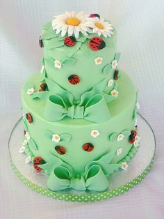 You have to agree how great this cake is! <3 Ladybugs...they are so girly! ~Bev