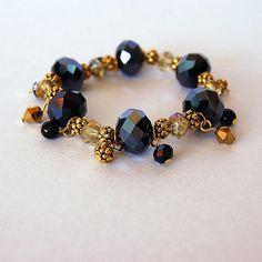Black and gold long chunky bracelet via Etsy
