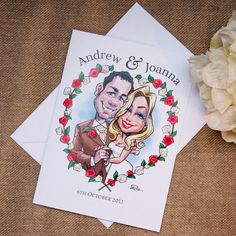 A very unique and modern alternative to formal wedding invitations, comical yet still tasteful! These beautifully sketched caricatures are courtesy of www.r