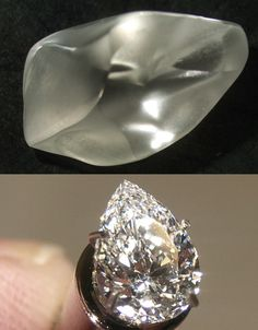 """Before... After - The 2.44-carat rough """"Silver Moon Diamond"""" was found by Melissa and Kenny Oliver of Rosston, Arkansas, in March 2011 on a Sunday during a full moon. The diamond was cut into a 1.06-carat F/VVS2 pear-shape gem. #Arkansas #CraterOfDiamondsStatePark #RoughDiamond #SilverMoonDiamond"""