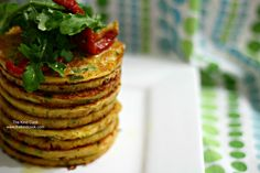 <p>Mixed with semi-dried tomatoes, garlic, zucchini, and chives, this vegan pancake is the perfect savory big breakfast or lunch. </p>