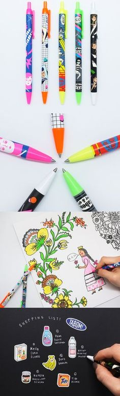 Wow! So many ink colors to choose from with a totally unique and quirky pen design! These pens are totally worth checkin' out!