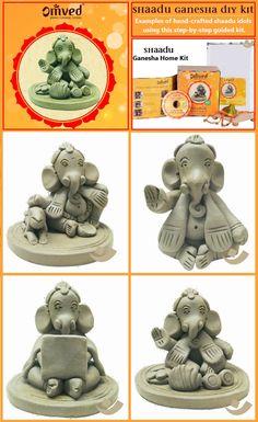 Some beautiful illustrations of Ganesha idols hand crafted using Shadu Clay.