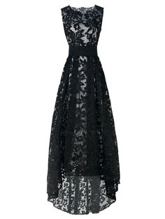 Shop Black Lace Sleeveless High Low Maxi Dress from choies.com .Free shipping Worldwide.$55.99