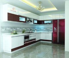 Tủ bếp Quảng Ninh kiểu chữ L hiện đại nhà anh Cường