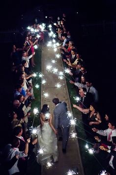 Amazing sparkler send off for the happy couple!