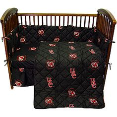 @Overstock - Give your nursery a splash of team pride with this South Carolina University Gamecocks crib bedding set. This plush set includes two fitted sheets, a reversible comforter, and more and is constructed from 100-percent cotton for a comfortable finish.http://www.overstock.com/Baby/South-Carolina-University-Gamecocks-5-piece-Crib-Bedding-Set/6542646/product.html?CID=214117 $62.99