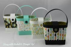 Stampin up stylish hand bags made with sweet sorbet dsp from sale a bration !!
