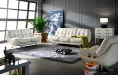 Eugenen - Leather Sofa 3 2 1 Seater Lounge Suite