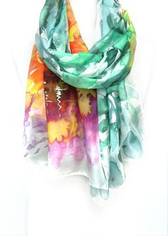Women Dahlias Shawl. Hand Painted Silk Scarf. by TeresaMare, $52.00