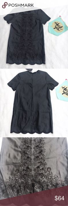 Zara black faux leather & embroidered dress This dress has a scalloped hem, short sleeves and amazing lace detailing throughout the dress. It's Brand new and perfect for any occasion. Back zipper. Approx measurements are: length 34 inches bust 36 inches Zara Dresses