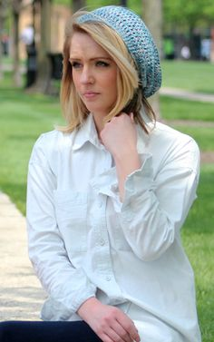 Womens Summer Beanie - Sky Blue/Grey Marl