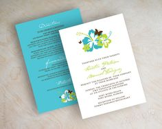Wedding invitations, hibiscus and butterflies, tropical destination in teal blue, aqua, sage green and brown