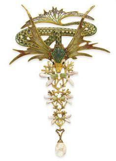 An Art Nouveau Enamel, Multi-Gem and Diamond Corsage Ornament, By Georges Fouquet