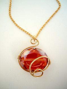 Gorgeous Wire Wrapped Crystal Necklace, in Orange, by Debbie Renee, Golden Swirls, Pendant Necklace
