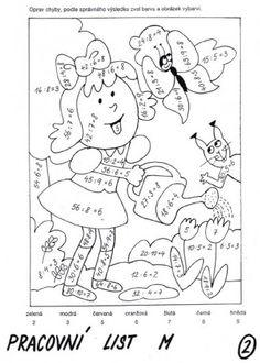 Veronika Wilde - Fotoalbum - Pracovní listy - Matematika - Dělení Math Worksheets, Math Activities, Colored Paper, Multiplication, Coloring Sheets, Numbers, Kindergarten, Snoopy, Classroom