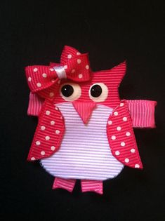 These adorable ribbon sculptures are a HOOT! Each sweet owl has been hand cut out of grosgrain ribbon and mounted on a fully lined alligator
