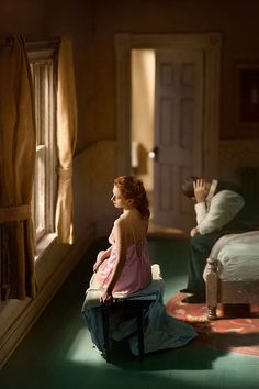 'Hopper Meditations' by Richard Tuschman ( inspired by Edward Hopper). Tuschman builds painted dollhouse-size dioramas that he photographs in his studio. The models are then photographed against a plain backdrop and the two images are made into a digital composite in Photoshop.