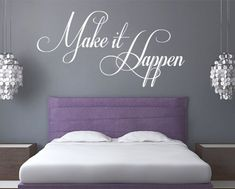 Wall Decal Quotes - Make it Happen Inspirational Quote Sticker Home Decor for Housewares Vinyl Wall Decal